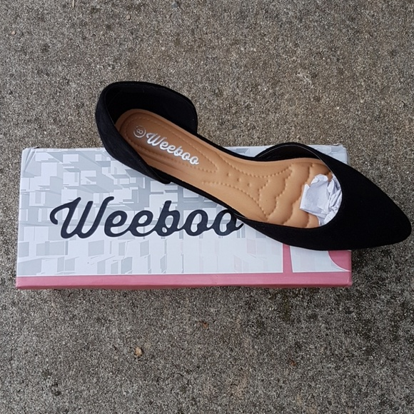 9d49e29672ce5 Weeboo Shoes | Black Vegan Suede Flats | Poshmark